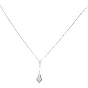 "Diamond Drop Pendant Necklace 17 3/4"" - 10k White Gold Women's Gift"