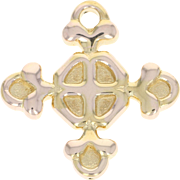 Yellow Gold Bottony Cross Pendant Charm Italy 14k Gift Keepsake