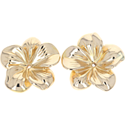 Hibiscus Earring Enhancers - 14k Yellow Gold Flower Blossoms