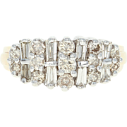 Diamond Cluster Ring - 10k Yellow Gold Round Brilliant & Baguette 1.00ctw