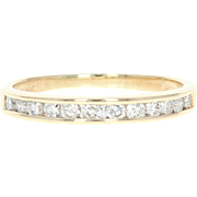 Diamond Wedding Band - 14k Yellow Gold Channel Set Ring Round Cut .54ctw
