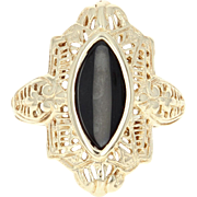 Vintage Onyx Ring - 10k Yellow Gold Filigree Women's Size 6 3/4