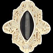 Vintage Onyx Ring - 10k Yellow Gold Filigree Women's Size 6 3/4