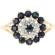 Sapphire & Diamond Tiered Cluster Ring - 10k Yellow Gold Round Brilliant 1.14ctw
