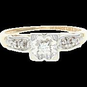 Vintage Diamond Engagement Ring - 14k Yellow Gold Size 6 3/4