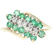 Emerald & Diamond Bypass Ring - 10k Yellow Gold Cluster Round Brilliant .49ctw