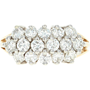 Diamond Cluster Ring - 14k Yellow Gold Size 6 3/4 Round Cut 2.00ctw