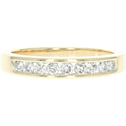 Diamond Wedding Band - 14k Yellow Gold Women's Ring Round Brilliant .30ctw