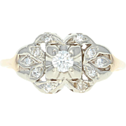 Retro Diamond Ring - 14k Yellow Gold Vintage Size 8 Round Brilliant .29ctw