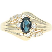 Sapphire & Diamond Bypass Ring - 14k Yellow Gold Oval Brilliant .96ctw