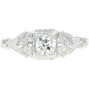 Art Deco Diamond Engagement Ring - Platinum Vintage European Cut .44ctw