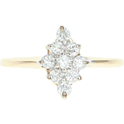 Diamond Cluster Ring - 14k Yellow Gold Round Brilliant Cut .27ctw