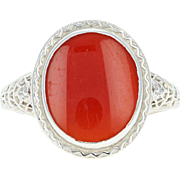 Art Deco Carnelian Ring - 14k Gold Vintage Floral Filigree Women's Size 6 3/4
