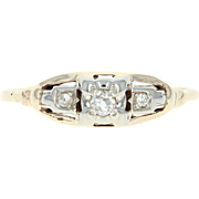 Art Deco Diamond Engagement Ring - 10k Yellow Gold Milgrain Old Mine Cut Size 8