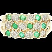 Emerald & Diamond Ring - 14k Yellow Gold Round Brilliant Cut .42ctw
