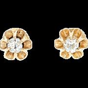 Victorian Diamond Stud Earrings - 14k Gold Buttercup Non-Pierced Mine Cut .25ctw