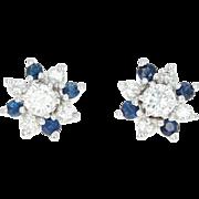Diamond & Sapphire Earring Set 14k Gold Studs w/Enhancer Jackets Pierced 1.12ctw
