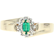 Synthetic Emerald & Diamond Ring - 10k Yellow Gold Halo Bypass .32ctw