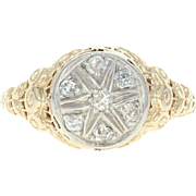 Art Deco Diamond Ring - 14k Yellow Gold Vintage Filigree Mine Cut .18ctw