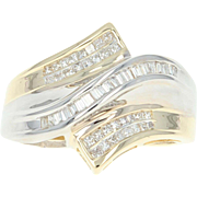Diamond Bypass Ring - 10k Yellow Gold Baguette & Princess .50ctw
