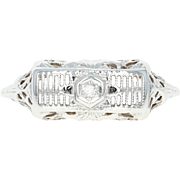 Vintage Filigree Ring - 14k White Gold Diamond Accent Floral Size 6 3/4