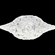 Art Deco Floral Filigree Ring - 18k Gold Diamond Vintage Engagement Size 5 1/2