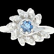 Vintage Sapphire & Diamond Bypass Ring - 14k Gold Halo Round Brilliant .83ctw