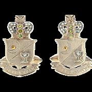 Vintage Queensway Cufflinks -10k Gold Syn. Sapphires Dias. London England .25ctw