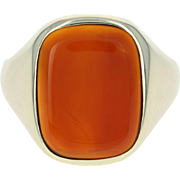 Men's Carnelian Ring - 14k Yellow Gold Polished Size 9
