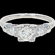 Retro Diamond Engagement Ring - 900 Platinum Vintage Size 4 European .55ctw