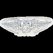 Art Deco Diamond Engagement Ring - 18k White Gold Vintage Size 5 1/2