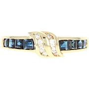 Sapphire & Diamond Ring - 18k Yellow Gold Step Cut Square .69ctw