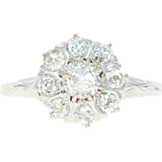 Art Deco Floral Diamond Ring -18k White Gold Vintage Cluster Halo Mine Cut 78ctw