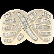Diamond X Ring - 14k Yellow Gold Size 7 1/2 Baguette Cut 1.45ctw