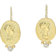 Silhouette Drop Earrings - 18k Yellow Gold Pierced Diamond Accents Round .14ctw