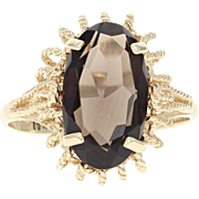 Smoky Quartz Ring - 10k Yellow Gold Size 7 Solitaire 4.10ct