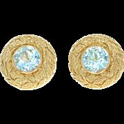 Vintage Julius Cohen Blue Topaz Earrings - 18k Gold Non-Pierced Clip-Ons w/ Box