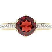 Garnet & Diamond Ring - 14k Yellow Gold Round Brilliant 1.75ctw