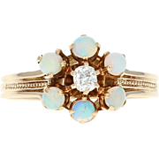 Edwardian Opal & Diamond Ring - 14k Gold Antique Flower Halo Mine Cut .57ctw