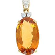 Vintage Citrine & Diamond Pendant - 18k Yellow Gold & Platinum 4.57ctw