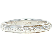 Art Deco Etched Floral Wedding Band - 18k White Gold Vintage Ring Size 7 1/4