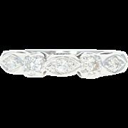 Vintage Diamond Wedding Band - 14k Gold Anniversary Ring Round Brilliant .32ctw