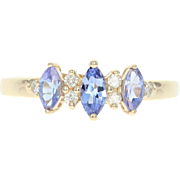 Tanzanite & Diamond Ring - 14k Gold Three-Stone with Accents Marquise .57ctw
