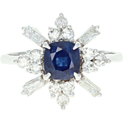 Sapphire & Diamond Ring - 14k White Gold Square Cushion 1.49ctw