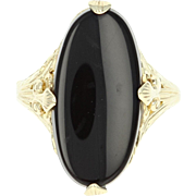 Art Deco Onyx Ring - 10k Yellow Gold Vintage Women's Size 6 1/2