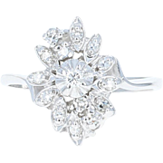 Vintage Cluster Bypass Ring - 14k White Gold Round Brilliant .26ctw