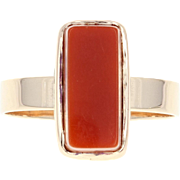 Victorian Banded Agate Ring - 14k Rose Gold Solitaire Rectangular Cut