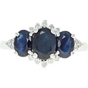 Sapphire & Diamond Ring - 14k White Gold Three-Stone w/ Accents 2.19ctw