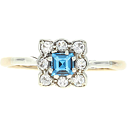 Vintage Synthetic Spinel Halo Ring - 14k Yellow Gold Step Cut Square .37ctw