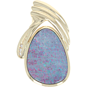 Opal Pendant - 14k Yellow Gold Diamond Accents Women's Gift